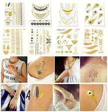 Gold Silver Black Temporary Metallic Tattoo Flash Tattoos Flash Inspired JT12