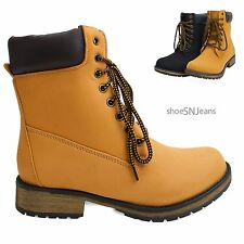 New Women Fashion Lace Up Work Combat Padded Collar Ankle Bootie Low Heel  Shoes