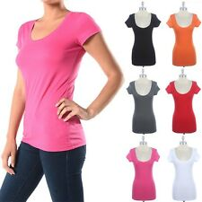 Simple Round Neck Short Sleeve Basic Cotton T Shirt Easy Wear Casual Top S M L