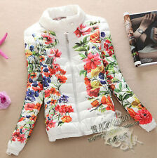 Hot 2015 Winter Women Collar printing down cotton jacket thin coat