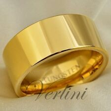Gold Men's Tungsten Ring 10mm Wedding Band Pipe Cut Polished Shiny Size 6-15