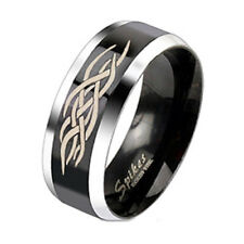 316L Stainless Steel Black Striped Gold Celtic Knot Wedding Band Ring Size 5-13