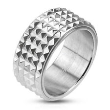 316L Stainless Steel Men's 10mm Spiked Spinning Center Band Ring Size 9-14