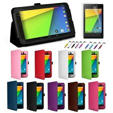 For Google Nexus 7 FHD II 2nd Folio Stand Leather Case Cover Protector /Stylus