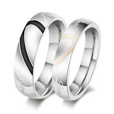 Fashion Couple Love Heart Stainless Steel Comfort Fit Wedding Bands Promise Ring