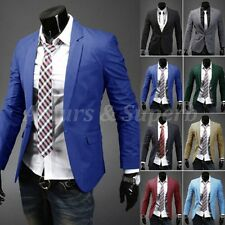NEW Mens Slim Fit Luxury Stylish Casual One Button Suit Coat Jacket Blazers