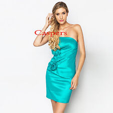 Ladies Strapless Ruched Side Bandeau Dress with Side Detail in Teal/Turquoise