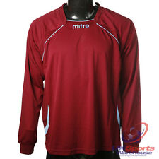 Mitre Boys Sopranox DryCool Long Sleeved Football Shirt Bordeaux / Blue rrp£20