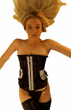 Ladies Sexy Black & White Lace Clip front Overbust Corset 8 10 12 14 16