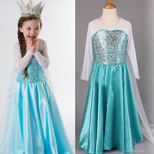 New Kids Girls Dress Queen Elsa Frozen Costume Princess Anna Party Fancy Dresses