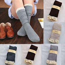 Women Crochet Lace  Knee High Trim Stockings Boot Socks Cotton Knit Leg Warmers