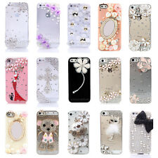 3D Flower Luxury Bling Gem Diamond Crystal Case Cover per Iphone 5 5s