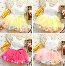 1pc Girl Kids Baby Children Rose Top Colorful Hemline Dress Tutu Clothing 6-30M