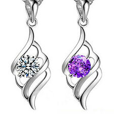 Fashion Women's Crystal Rhinestone 925 Sterling Silver Chain Pendant Necklace