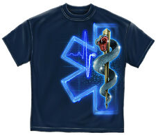 Navy Blue EMS EMT Full Front Star of Life with Snake on Staff T-Shirt