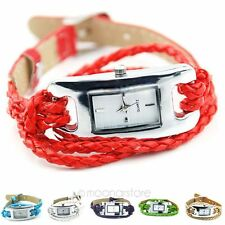 Retro Braid Weave Leather Band Lady Quartz Bracelet Wrist Watch Woman Xmas Gift