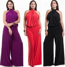 PLUS SIZE HALTER JUMPSUIT Sleeveless Sexy Wide Leg Pants Romper Long 1X 2X 3X