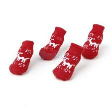 Christmas Reindeer Pet Dog Puppy Cat Non-Slip Socks Bootie Boot Paw Print 4 Size
