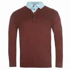 Pierre Cardin Mens Mock Y Knitted Jumper Knitwear Collared Buttoned Neck Comfort