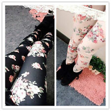 Fashion Women Punk Funky Leggings Stretch Pencil Skinny Sexy Floral Pants