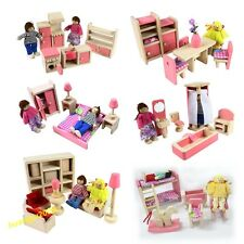 Pink Wooden Dolls House Furniture Miniature 6 Room Set/4 Dolls For Kid Christmas