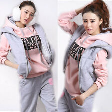 Women Lady Tracksuit Sports Sweatsuit Coat+Vest+Pants Hoodie 3pcs Suit Perfect