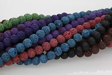 """Strand 15"""" 8mm Natural Lava Rock Round Gemstone Loose Spacer Beads Approx 50pcs"""