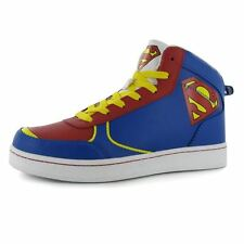 DC Comics Kids Hi Top Junior Trainers Boys Superman Motif Lace Up Sport Shoes