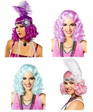 Curly Flapper Costume Wig Roaring Twenties 20s Party Icy Pink Blue Purple Lilac