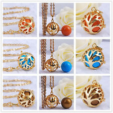 H125 Family Tree Cage Belly Bola Pendant Gold Stainless Steel Chain Baby Caller