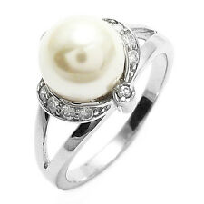 925 Sterling Silver Freshwater Pearl with CZs Accented Setting Ring Size 6-9
