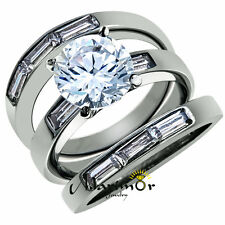 4.35 CT CUBIC ZIRCONIA STAINLESS STEEL ENGAGEMENT WEDDING RING 3 PC SET SZ 5-10