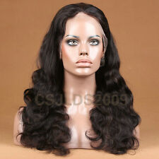 Full Lace wig 100% Remy Indian Human Hair Body Wave Wig #1B/30