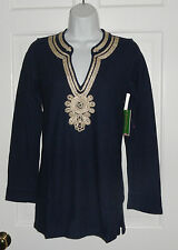 NWT LILLY PULITZER TRUE NAVY EMERSON TUNIC TOP  WITH GOLD SOUTACHE TRIM S M L XL