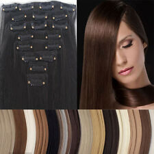 Mega Thick 145g Long Full Head Clip in On Hair Extensions Black Brown USA hs22