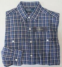 NWT $98 Polo Ralph Lauren LINEN LS Shirt Mens S M L XL XXL Blue Plaid Work NEW