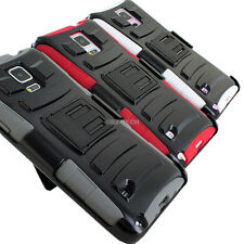 For Samsung Galaxy Note 4 Rugged Hybrid Hard Case Cover Belt Clip Holster Stand