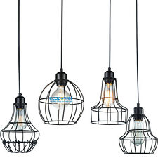 Restoration Vintage Industrial Metal Cage Wire Pendant Light Edison Bulb Lamp