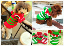 Pet Dog Puppy Cat Christmas Clothes Striped knitwear coat jacket Jumper Sweater