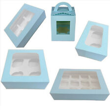 Clear Window Cupcake Boxes For 1 /2 /4 /6 /12 Cakes With Removable Insert Blue