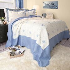 3 Piece  Embroidered Quilted Blanket Bed Spread Queen King Size Color Choice