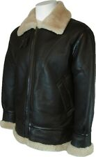 Mens Sheepskin Flying Aviator Airforce Leather Coat Brown with Cream Fur  #S5