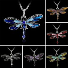 Retro Silver Dragonfly Crystal Sweater Chain Pendant Enamel Rhinestone Necklace