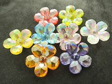 28mm 10/20pcs CLEAR FACETED ACRYLIC LUCITE PLASTIC FLOWER AB BEADS JU0515