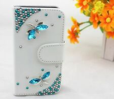 Bling Diamond Dragonfly Card Wallet Pouch PU Leather Case Cover For LG