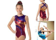NEW Foil Metallic Rhinestones Strappy Criss Cross Back Gymnastics Leotard U Pick