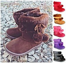 Infant Toddler Baby Girls' Cute Faux Suede Flat Winter Fur Boots Shoes Size 4-10