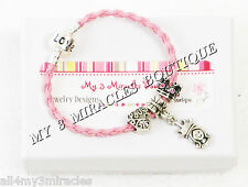 Pink Princess Charm Bracelet Crown Heart Leather Little Girls Pageant Christmas
