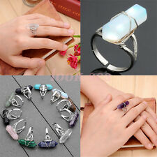 Silvery Plated Reiki Natural Quartz Healing Chakra Gems Adjustable Finger Rings