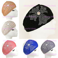Women's Diamond Cross Knitted Headband Crochet Hairband Ear Warmer Headwrap
